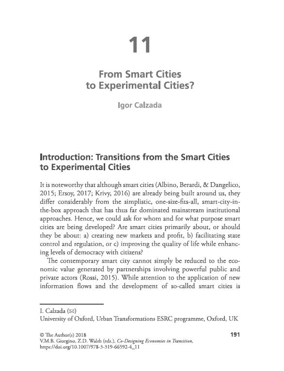 Smart Cities Dr Igor Calzada MBA - 31 jan